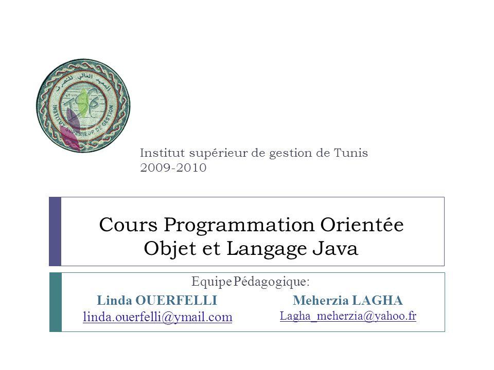 Cours Programmation Orientée Objet et Langage Java Equipe Pédagogique: Institut supérieur de gestion de Tunis 2009-2010 Linda OUERFELLI linda.ouerfell