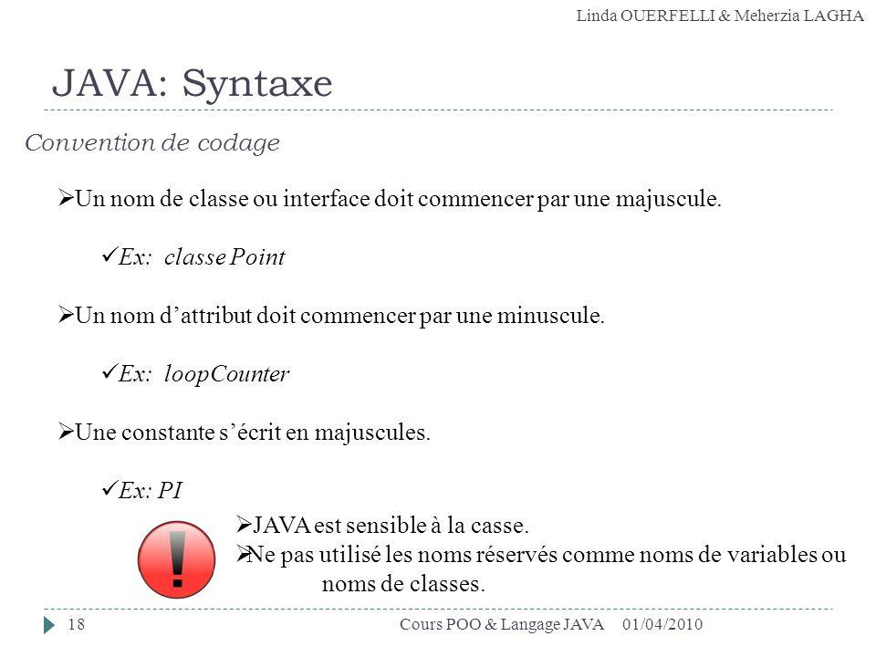 Linda OUERFELLI & Meherzia LAGHA 01/04/2010Cours POO & Langage JAVA18 JAVA: Syntaxe Convention de codage Un nom de classe ou interface doit commencer