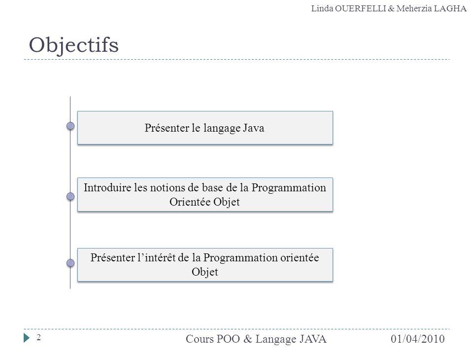 Linda OUERFELLI & Meherzia LAGHA Objectifs Présenter lintérêt de la Programmation orientée Objet Introduire les notions de base de la Programmation Or