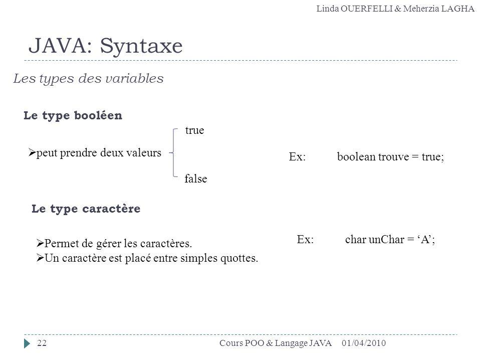Linda OUERFELLI & Meherzia LAGHA 01/04/2010Cours POO & Langage JAVA22 JAVA: Syntaxe Les types des variables Le type booléen Le type caractère peut pre