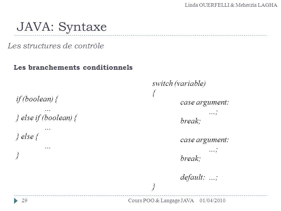 Linda OUERFELLI & Meherzia LAGHA 01/04/2010Cours POO & Langage JAVA29 JAVA: Syntaxe Les structures de contrôle Les branchements conditionnels if (bool