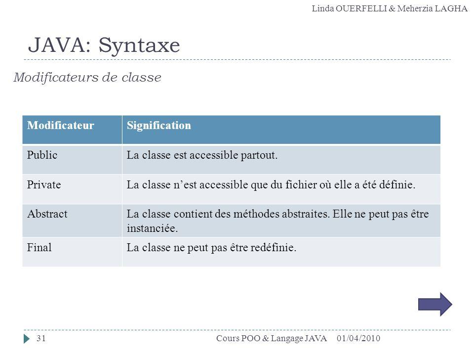 Linda OUERFELLI & Meherzia LAGHA 01/04/2010Cours POO & Langage JAVA31 JAVA: Syntaxe Modificateurs de classe ModificateurSignification PublicLa classe