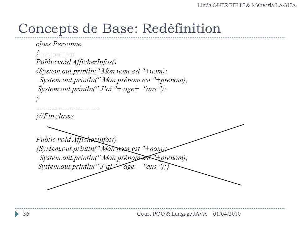 Linda OUERFELLI & Meherzia LAGHA Concepts de Base: Redéfinition 01/04/201036Cours POO & Langage JAVA class Personne { ……………. Public void AfficherInfos