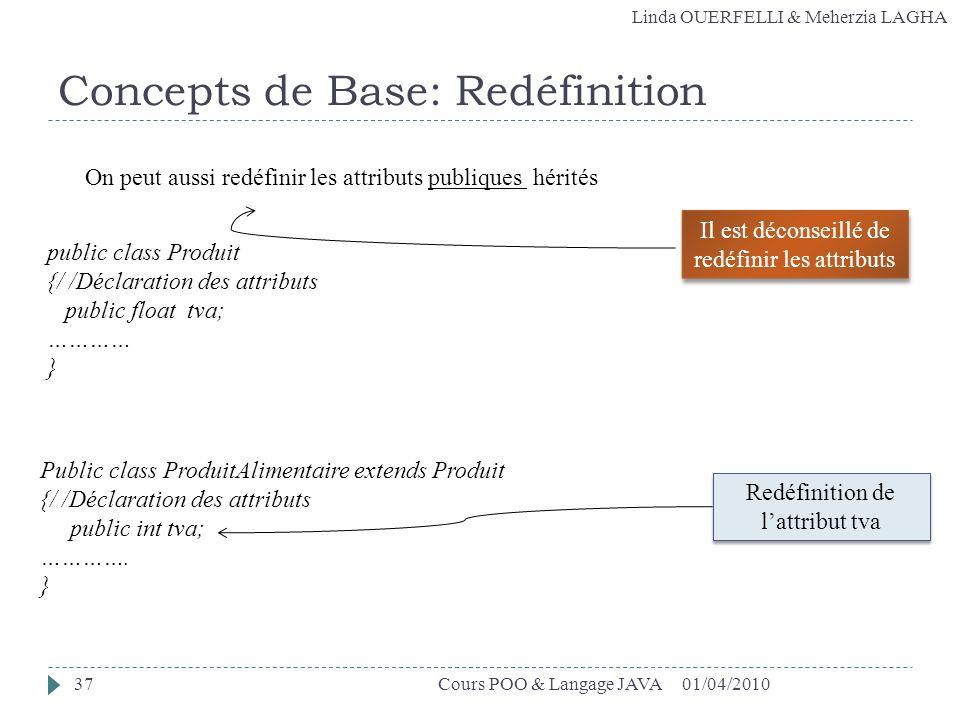 Linda OUERFELLI & Meherzia LAGHA Concepts de Base: Redéfinition 01/04/2010Cours POO & Langage JAVA37 On peut aussi redéfinir les attributs publiques h