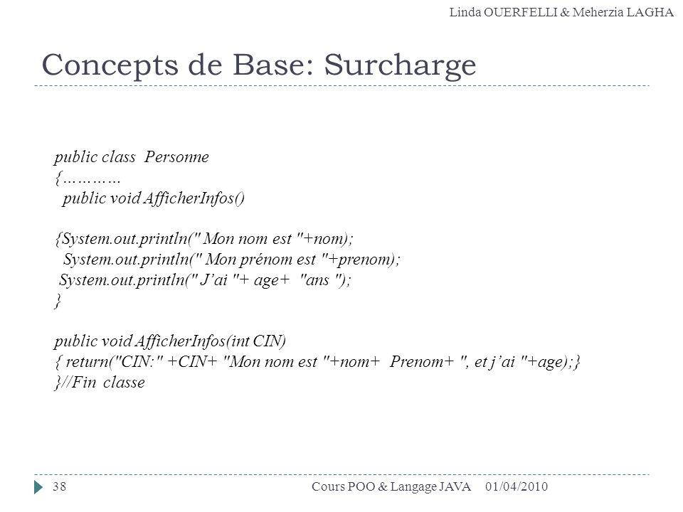 Linda OUERFELLI & Meherzia LAGHA Concepts de Base: Surcharge 01/04/201038Cours POO & Langage JAVA public class Personne {………… public void AfficherInfo