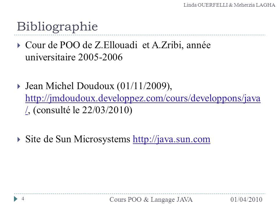 Linda OUERFELLI & Meherzia LAGHA Cour de POO de Z.Ellouadi et A.Zribi, année universitaire 2005-2006 Jean Michel Doudoux (01/11/2009), http://jmdoudou