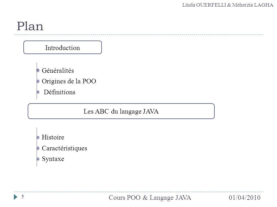 Linda OUERFELLI & Meherzia LAGHA 01/04/2010Cours POO & Langage JAVA 5 Plan Introduction Les ABC du langage JAVA Origines de la POO Définitions Général
