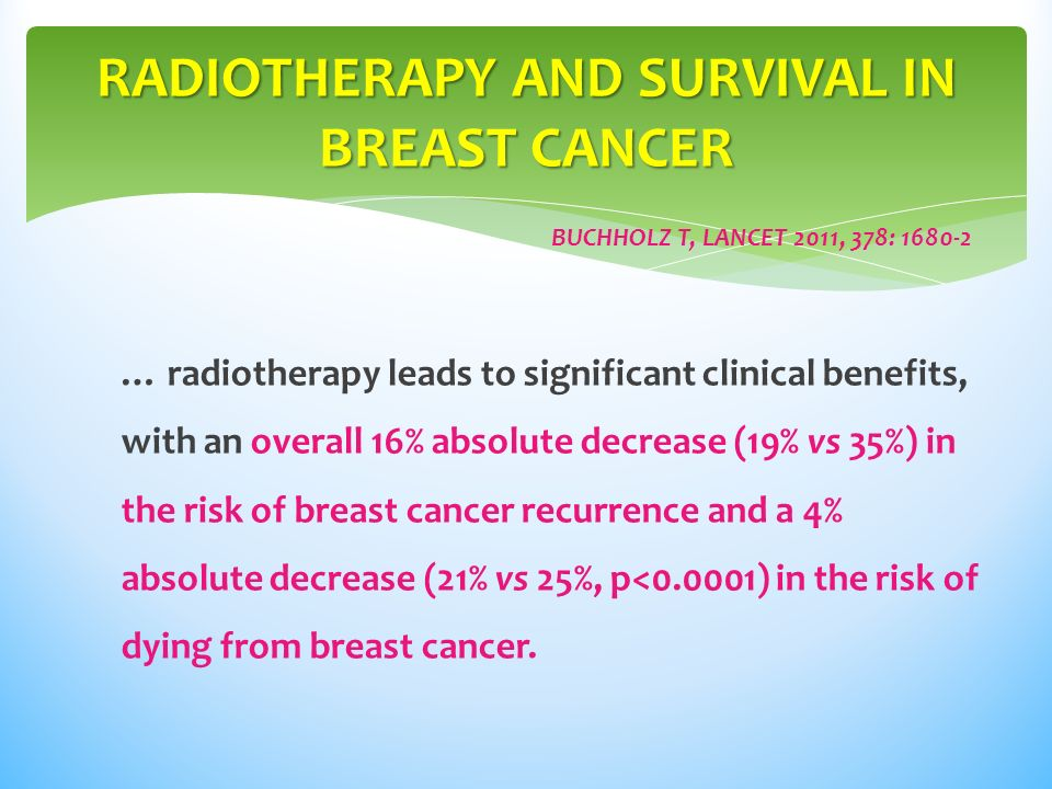 … radiotherapy leads to significant clinical benefits, with an overall 16% absolute decrease (19% vs 35%) in the risk of breast cancer recurrence and