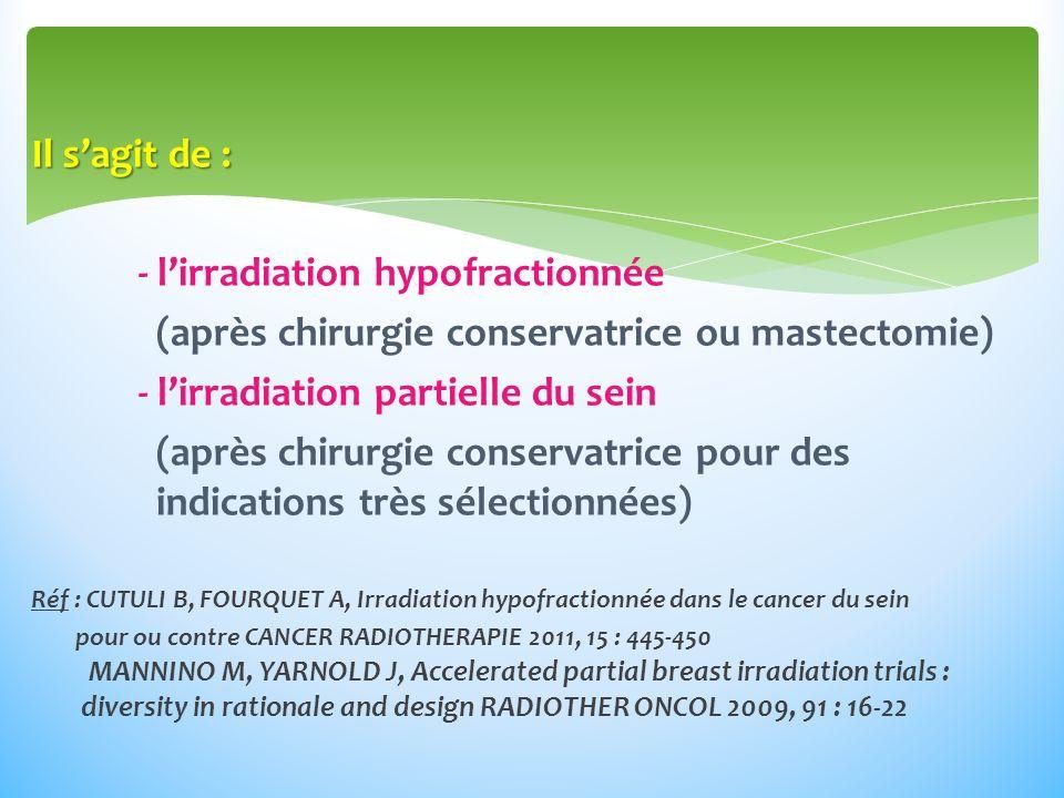 Il sagit de : - lirradiation hypofractionnée (après chirurgie conservatrice ou mastectomie) - lirradiation partielle du sein (après chirurgie conservatrice pour des indications très sélectionnées) Réf : CUTULI B, FOURQUET A, Irradiation hypofractionnée dans le cancer du sein pour ou contre CANCER RADIOTHERAPIE 2011, 15 : 445-450 MANNINO M, YARNOLD J, Accelerated partial breast irradiation trials : diversity in rationale and design RADIOTHER ONCOL 2009, 91 : 16-22