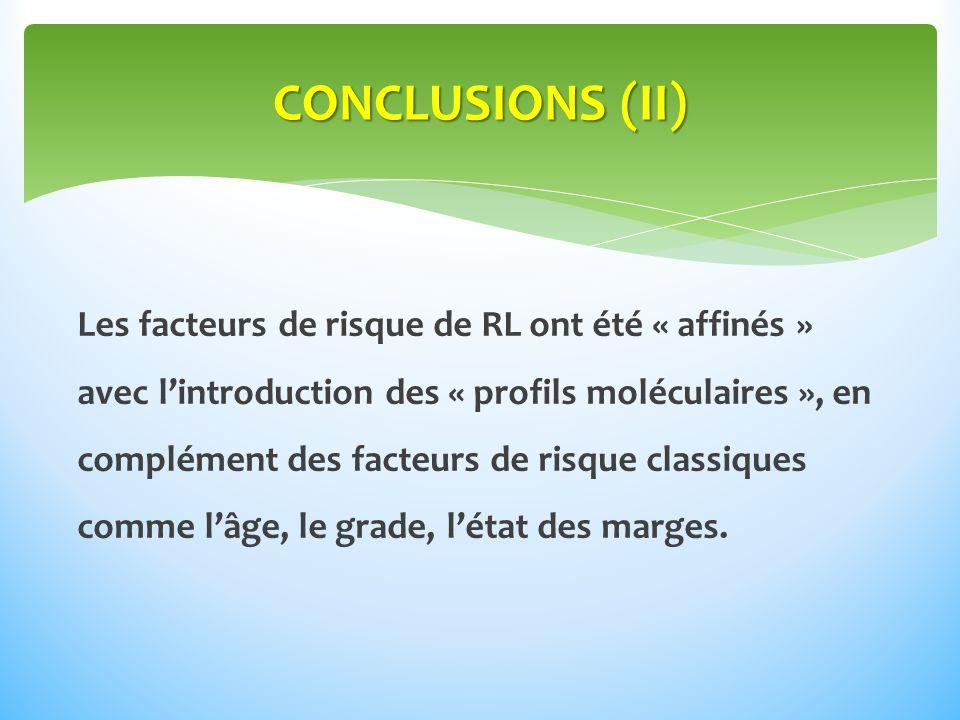 Les facteurs de risque de RL ont été « affinés » avec lintroduction des « profils moléculaires », en complément des facteurs de risque classiques comme lâge, le grade, létat des marges.