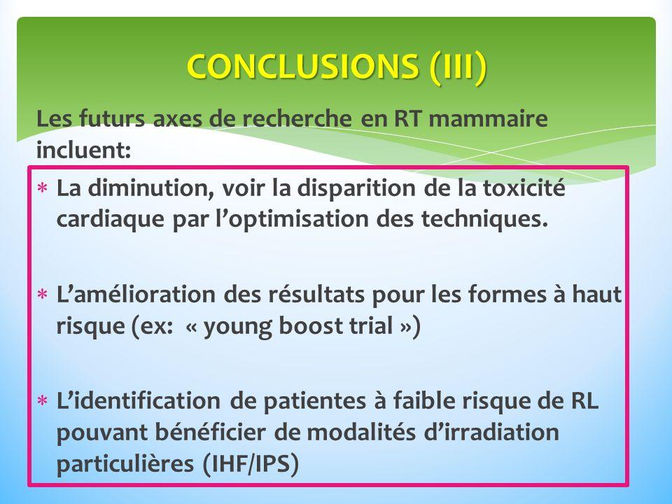 Les futurs axes de recherche en RT mammaire incluent: La diminution, voir la disparition de la toxicité cardiaque par loptimisation des techniques.