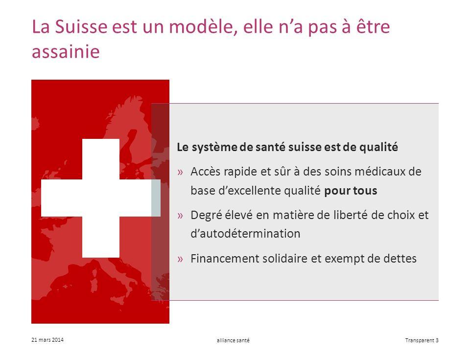 alliance santé 21 mars 2014 Transparent 3 La Suisse est un modèle, elle na pas à être assainie Le système de santé suisse est de qualité »Accès rapide et sûr à des soins médicaux de base dexcellente qualité pour tous »Degré élevé en matière de liberté de choix et dautodétermination »Financement solidaire et exempt de dettes
