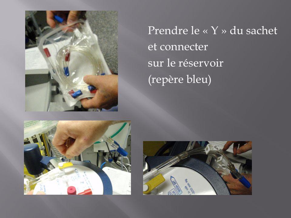 Prendre le « Y » du sachet et connecter sur le réservoir (repère bleu)