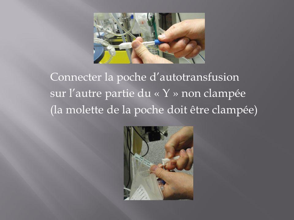 Connecter la poche dautotransfusion sur lautre partie du « Y » non clampée (la molette de la poche doit être clampée)