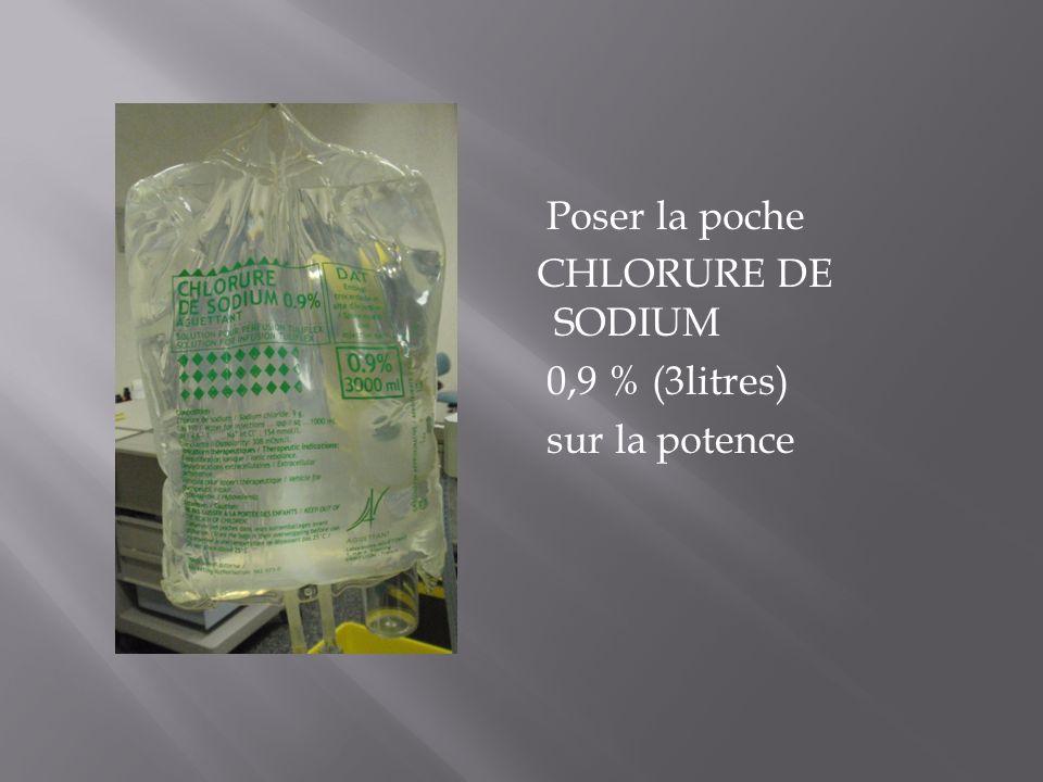 Poser la poche CHLORURE DE SODIUM 0,9 % (3litres) sur la potence