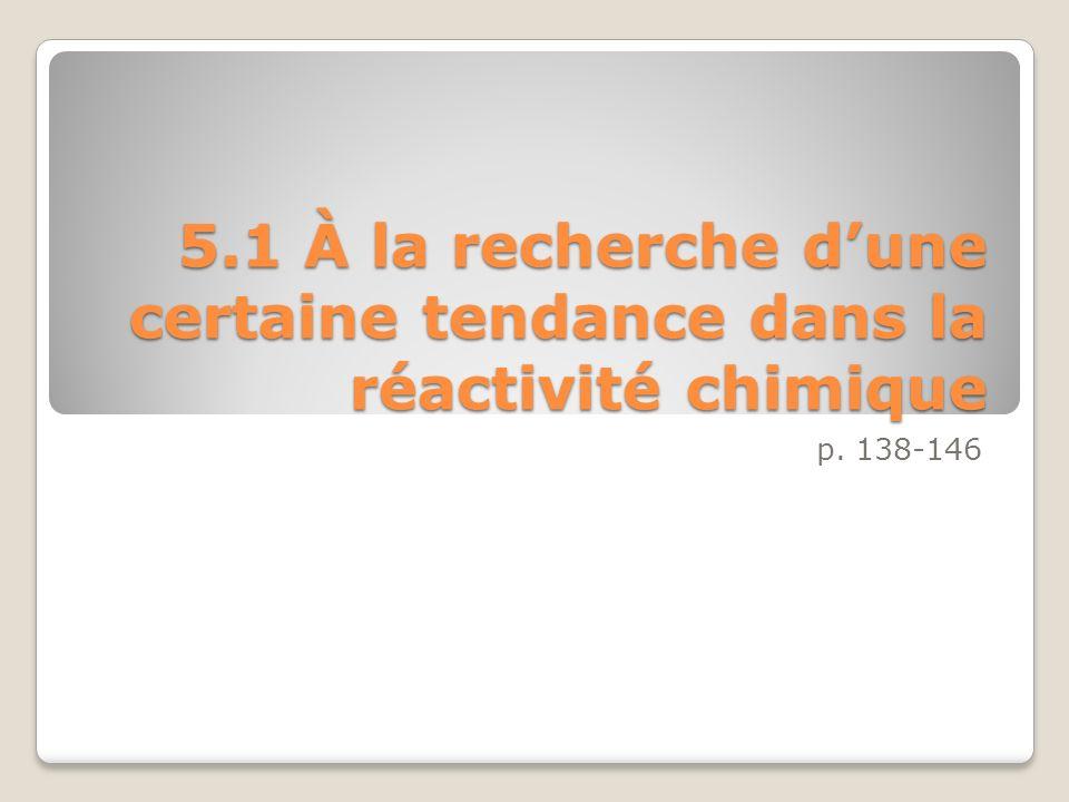 5.1 À la recherche dune certaine tendance dans la réactivité chimique p. 138-146