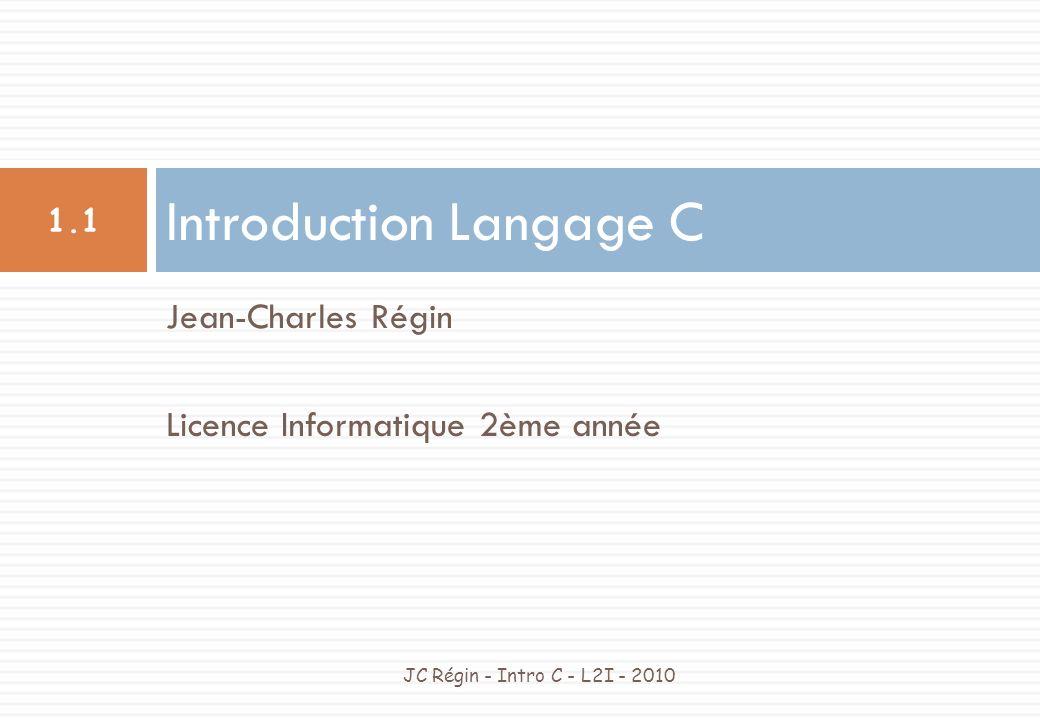 Options du compilateur JC Régin - Intro C - L2I - 2010 1.22 Quelques options du compilateur -c : pour n obtenir que le fichier objet (donc l éditeur de liens n est pas appelé).
