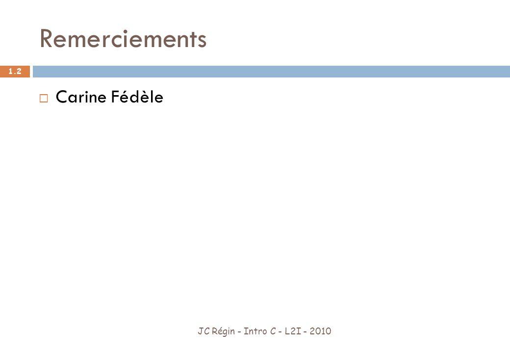 Plan du cours JC Régin - Intro C - L2I - 2010 1.3 9 cours Contrôle après le cours 4 (pendant le cours 5) Contrôle final Chaque contrôle compte pour la moitié de la note Vous rendez vos TP vous faites des efforts : 2 points de plus sur la note de contrôle partiel.