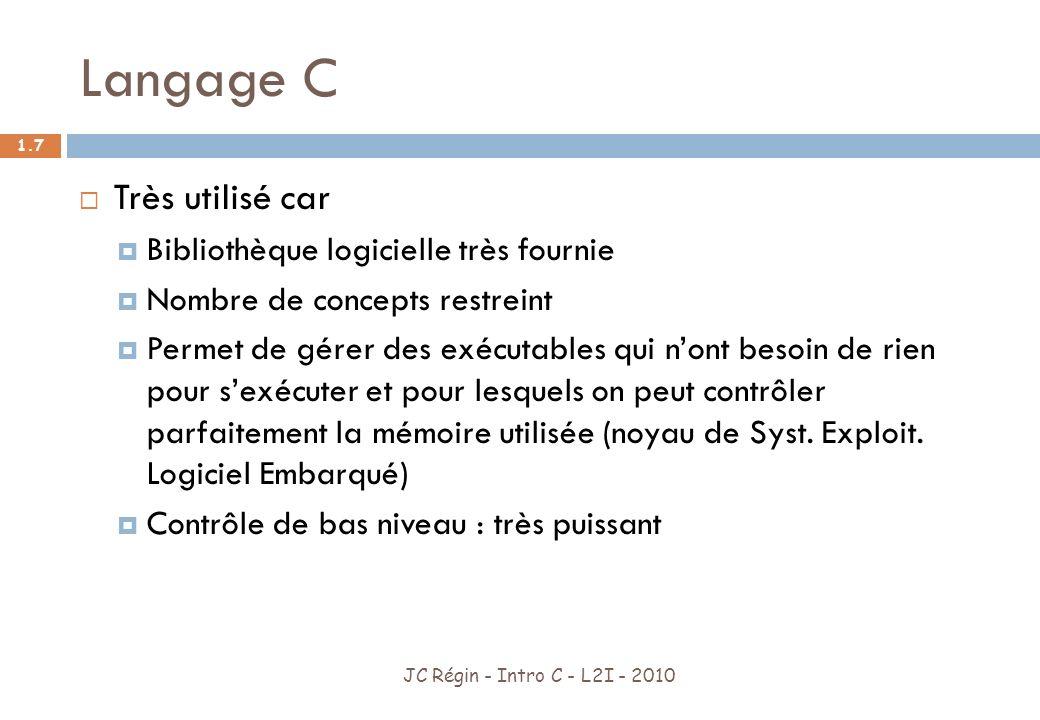 Langage C JC Régin - Intro C - L2I - 2010 1.8 Avantages Nombreux types de données.