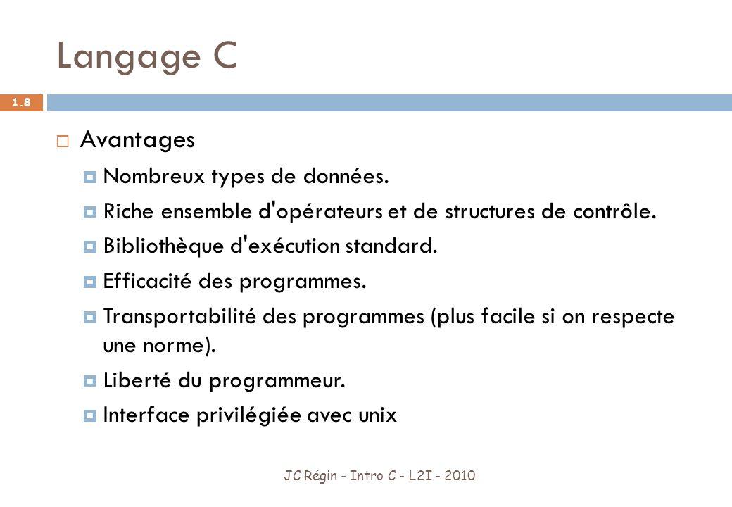 Langage C JC Régin - Intro C - L2I - 2010 1.9 Inconvénients Pas dobjets Pas de gestion des exceptions Peu de contrôles (on peut tout faire : débordement de tableaux …) Faiblement typé (on peut toujours convertir) Peu devenir franchement complexe Vieux langage