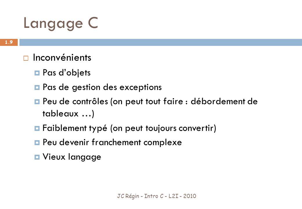 Langage C JC Régin - Intro C - L2I - 2010 1.10 De très nombreux langages sont inspirés du C C++ (C avec objets (encapsulation, héritage, généricité)) Java PhP