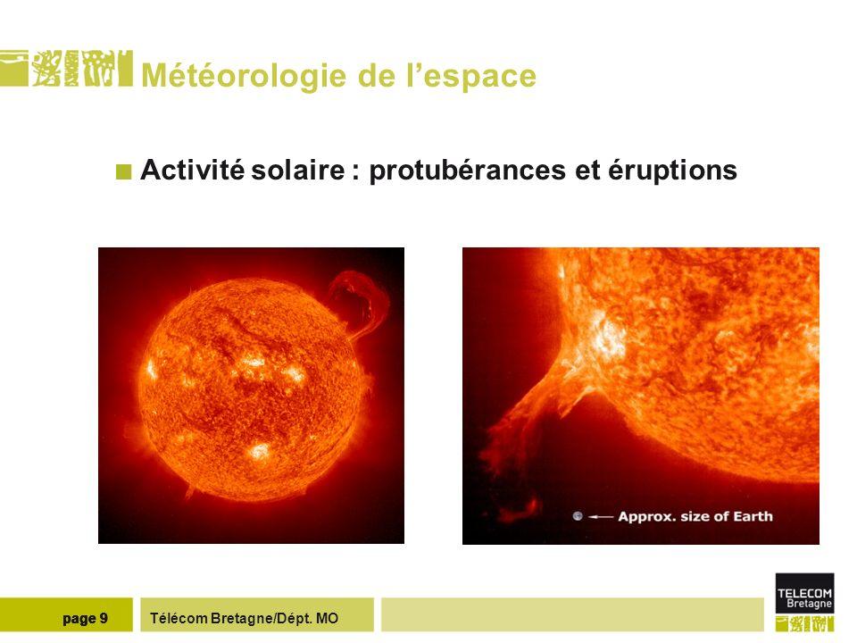 Télécom Bretagne/Dépt. MOpage 9 Météorologie de lespace Activité solaire : protubérances et éruptions