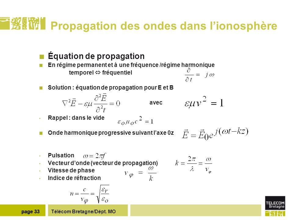 Télécom Bretagne/Dépt. MOpage 33 Propagation des ondes dans lionosphère Équation de propagation En régime permanent et à une fréquence /régime harmoni