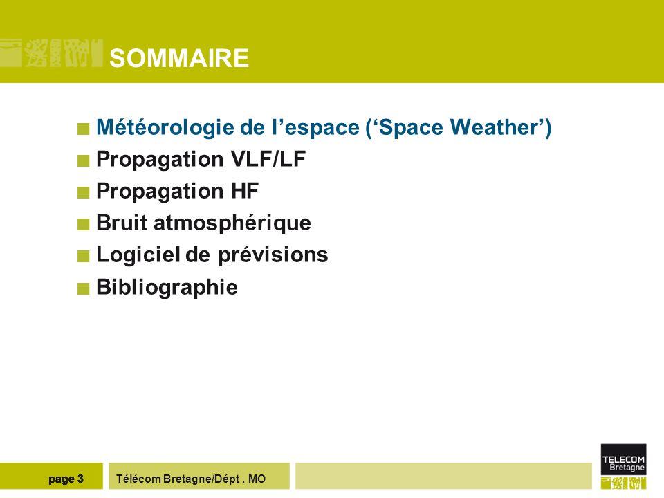 Télécom Bretagne/Dépt. MOpage 3 SOMMAIRE Météorologie de lespace (Space Weather) Propagation VLF/LF Propagation HF Bruit atmosphérique Logiciel de pré
