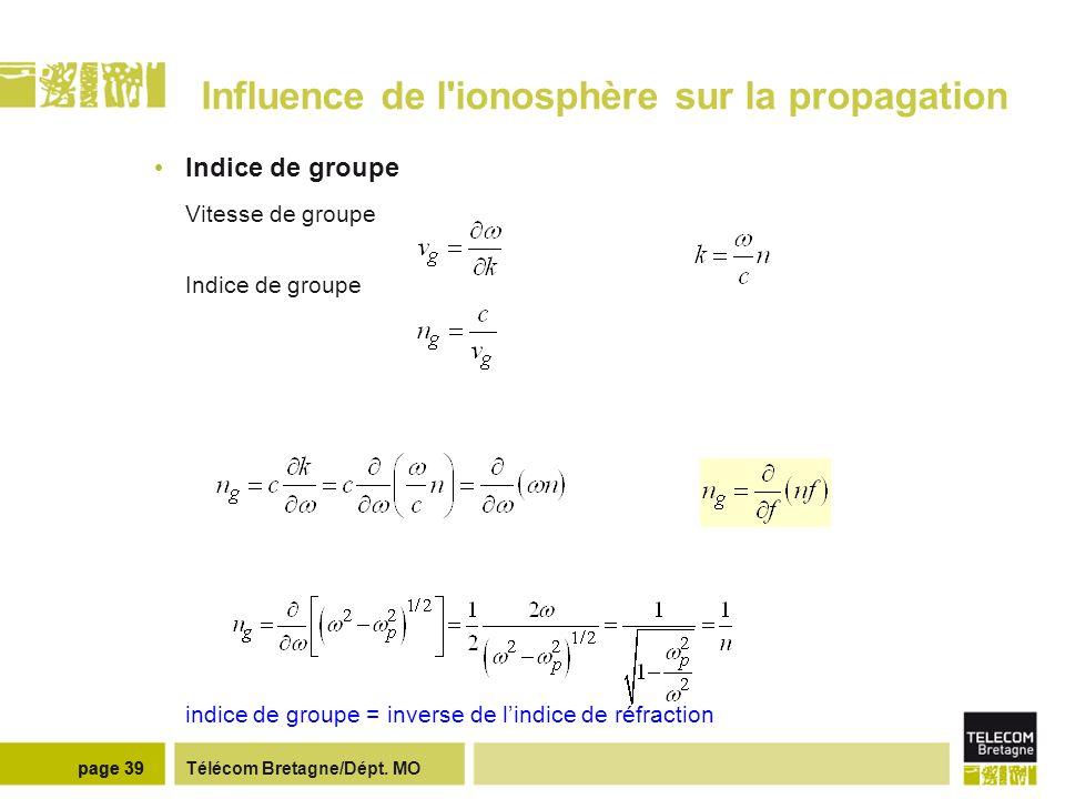 Télécom Bretagne/Dépt. MOpage 39 Influence de l'ionosphère sur la propagation Indice de groupe Vitesse de groupe Indice de groupe indice de groupe = i