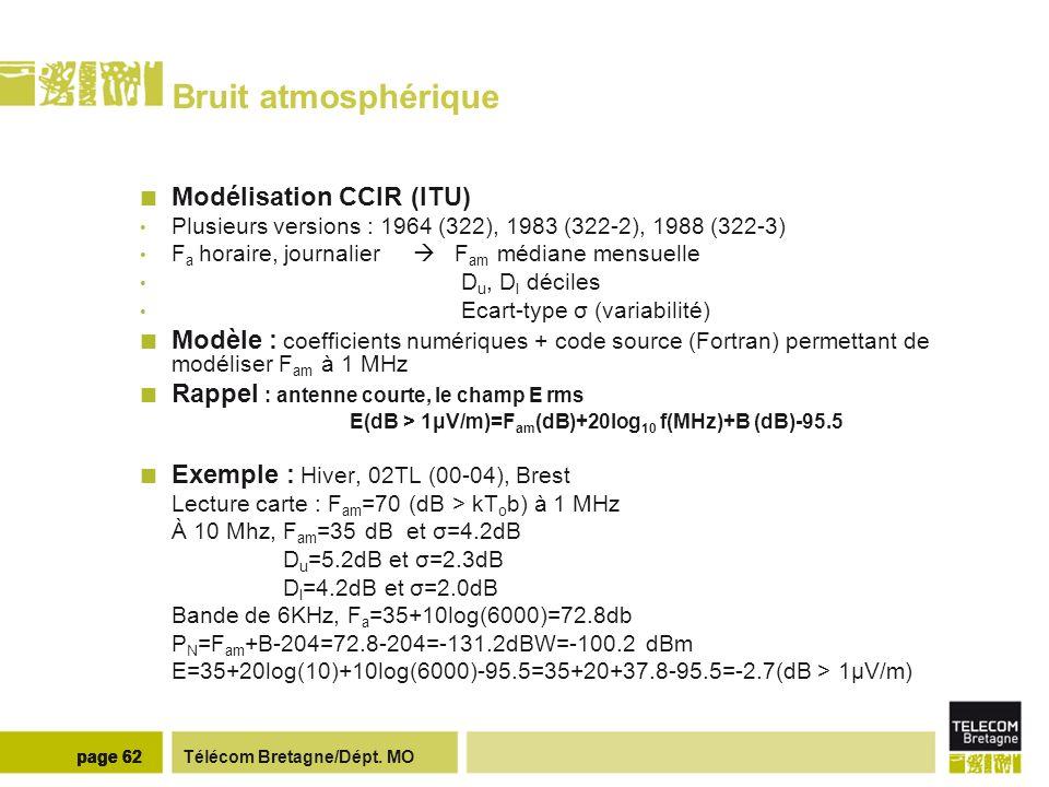 Télécom Bretagne/Dépt. MOpage 62 Bruit atmosphérique Modélisation CCIR (ITU) Plusieurs versions : 1964 (322), 1983 (322-2), 1988 (322-3) F a horaire,