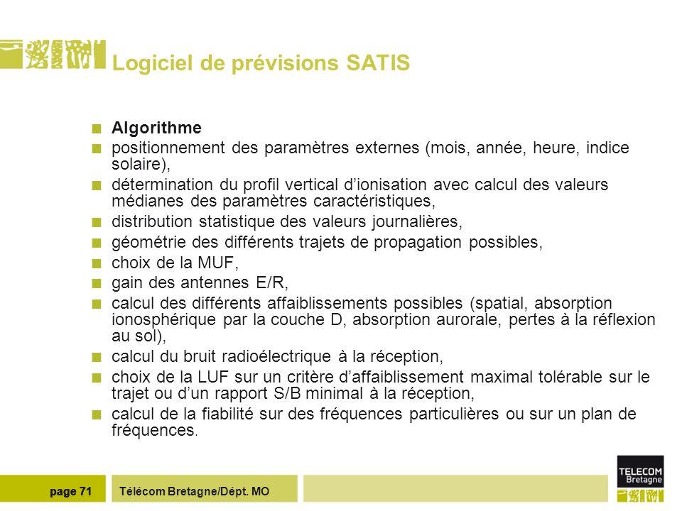 Télécom Bretagne/Dépt. MOpage 71 Logiciel de prévisions SATIS Algorithme positionnement des paramètres externes (mois, année, heure, indice solaire),