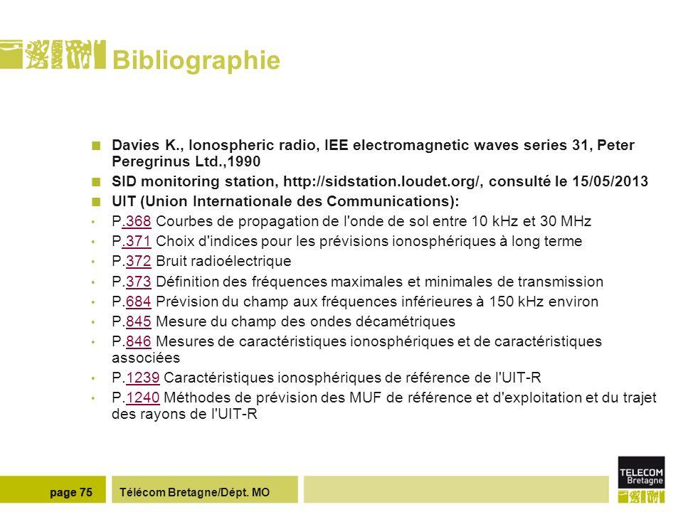 Télécom Bretagne/Dépt. MOpage 75 Bibliographie Davies K., Ionospheric radio, IEE electromagnetic waves series 31, Peter Peregrinus Ltd.,1990 SID monit
