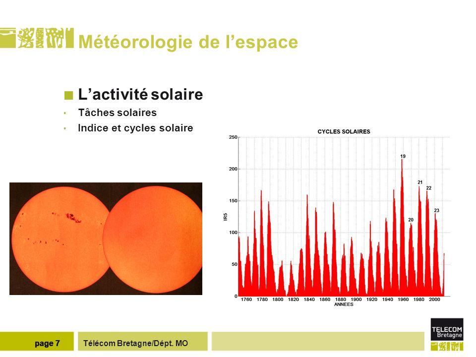 Télécom Bretagne/Dépt. MOpage 7 Météorologie de lespace Lactivité solaire Tâches solaires Indice et cycles solaire