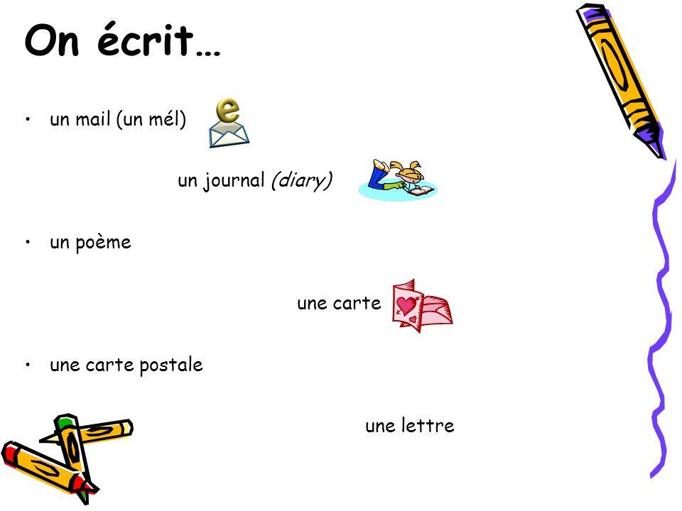 On écrit… un mail (un mél) un journal (diary) un poème une carte une carte postale une lettre