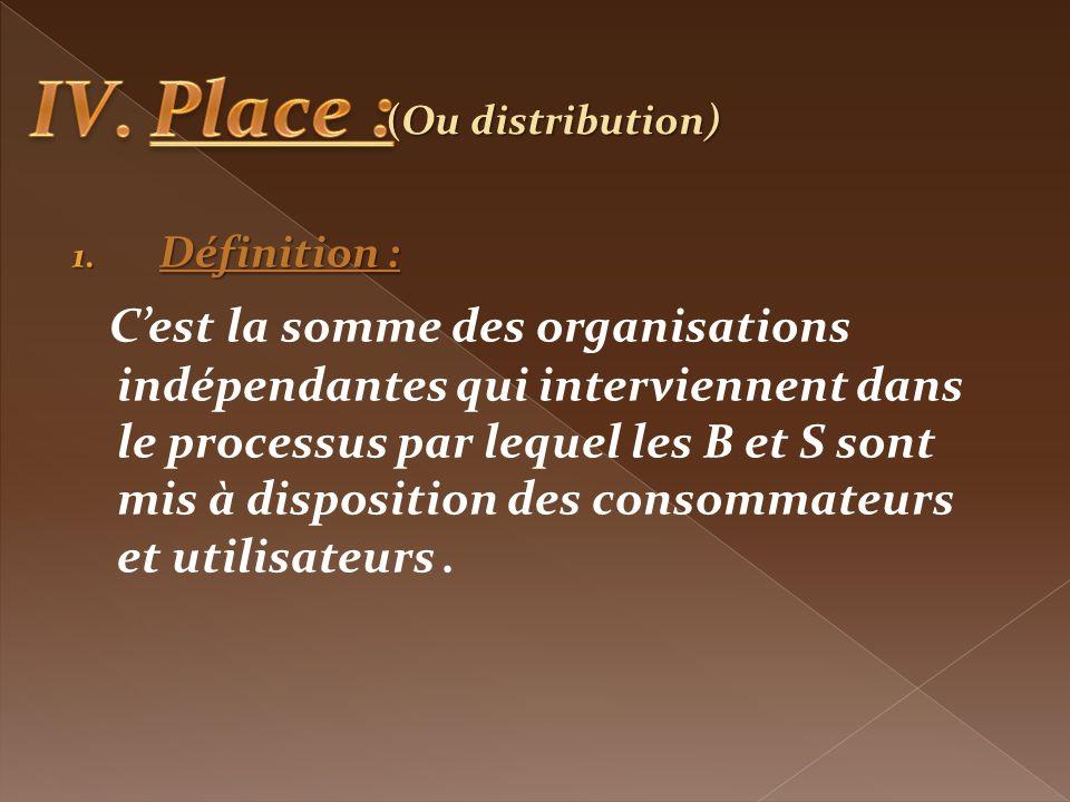1. Définition : Cest la somme des organisations indépendantes qui interviennent dans le processus par lequel les B et S sont mis à disposition des con