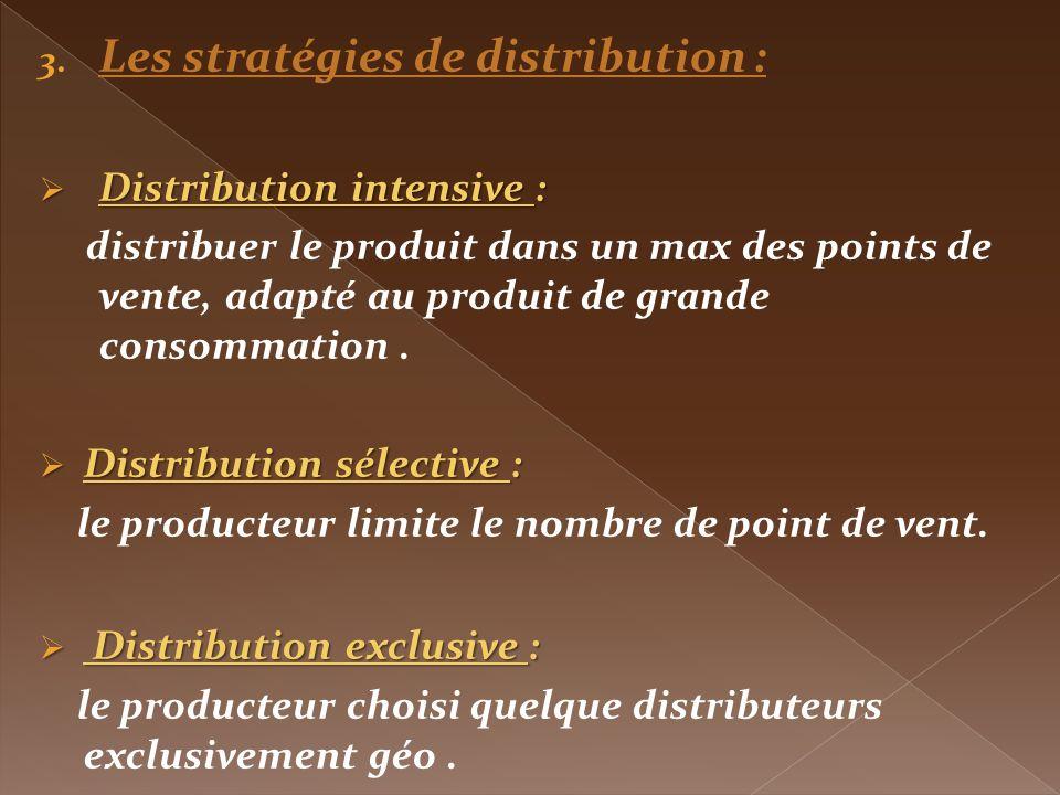 3. Les stratégies de distribution : Distribution intensive : Distribution intensive : distribuer le produit dans un max des points de vente, adapté au