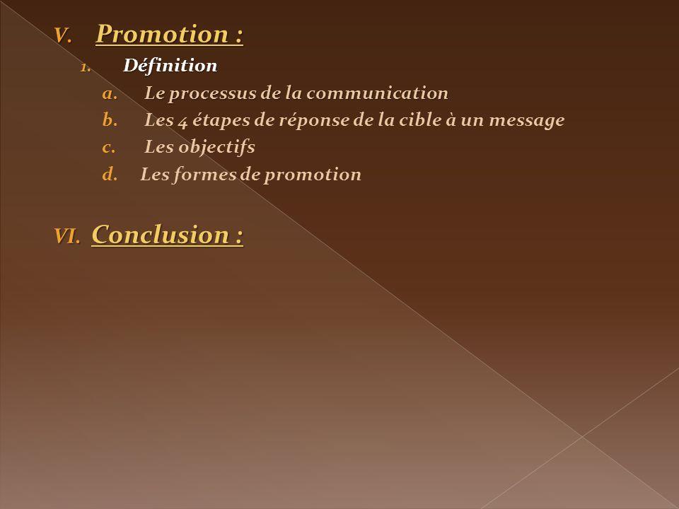 V.Promotion : 1.