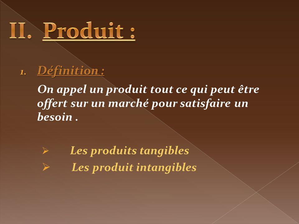 1. Définition : On appel un produit tout ce qui peut être offert sur un marché pour satisfaire un besoin. Les produits tangibles Les produit intangibl