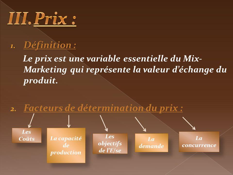 1. Définition : Le prix est une variable essentielle du Mix- Marketing qui représente la valeur déchange du produit. 2. Facteurs de détermination du p