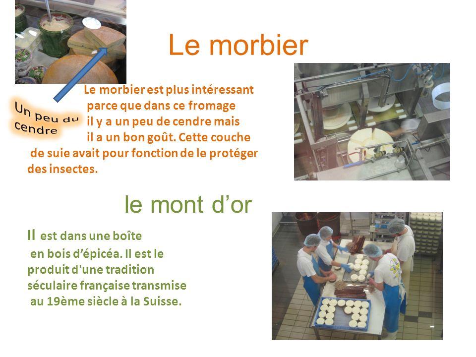 Le morbier Le morbier est plus intéressant parce que dans ce fromage il y a un peu de cendre mais il a un bon goût. Cette couche de suie avait pour fo