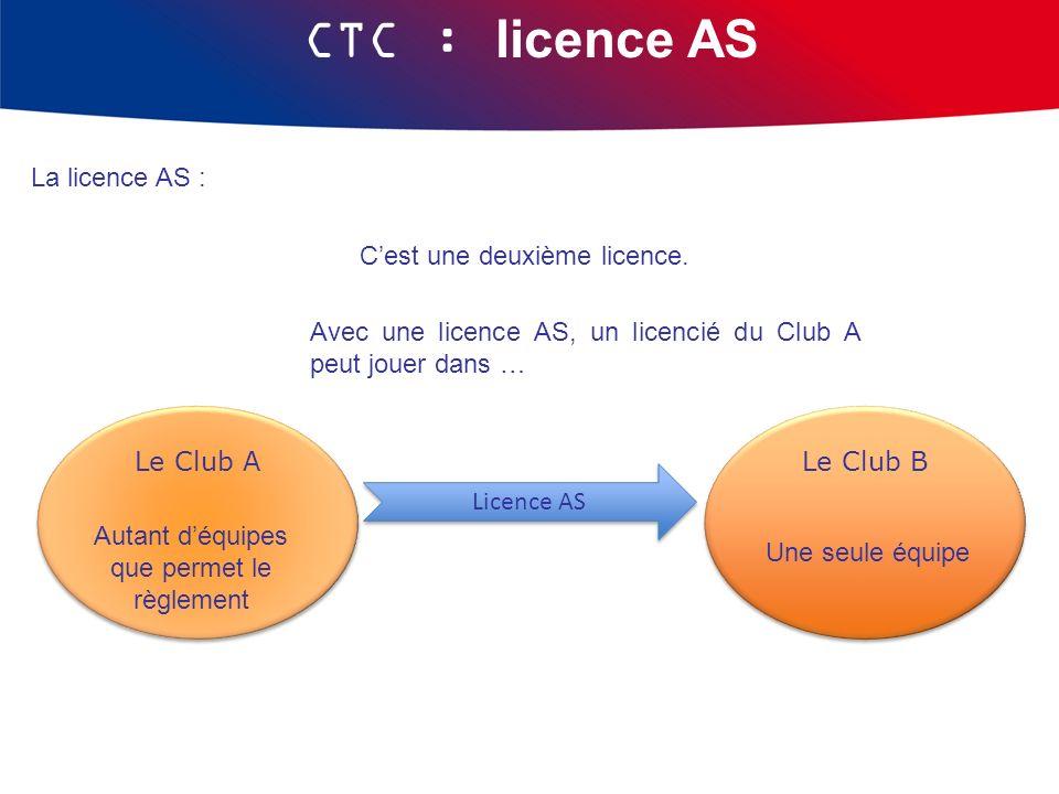 CTC : licence AS La licence AS : Cest une deuxième licence. Licence AS Licence AS Le Club A Le Club B Autant déquipes que permet le règlement Une seul