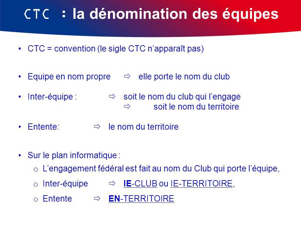 CTC : la dénomination des équipes CTC = convention (le sigle CTC napparaît pas) Equipe en nom propre elle porte le nom du club Inter-équipe : soit le