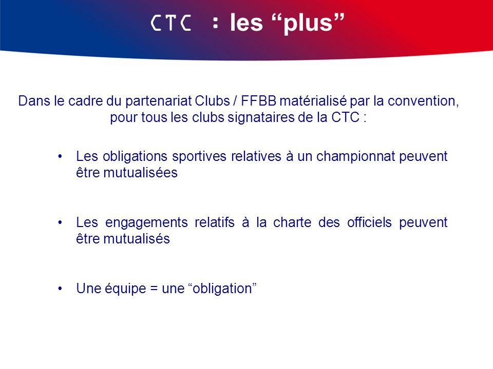 CTC : les plus Dans le cadre du partenariat Clubs / FFBB matérialisé par la convention, pour tous les clubs signataires de la CTC : Les obligations sp