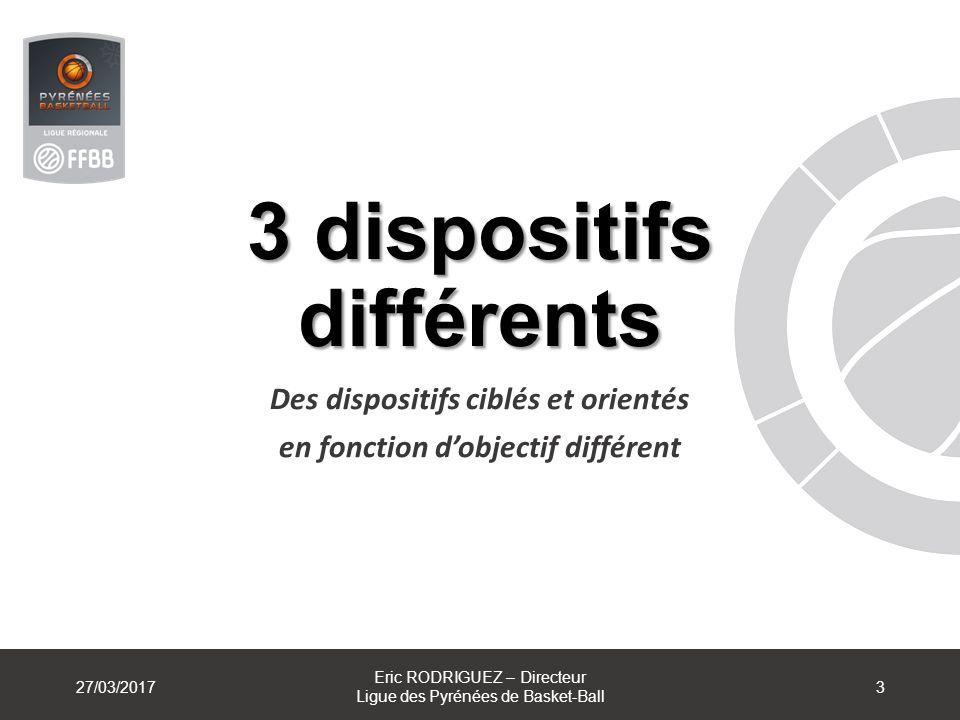 3 dispositifs différents Des dispositifs ciblés et orientés en fonction dobjectif différent 27/03/2017 Eric RODRIGUEZ – Directeur Ligue des Pyrénées d