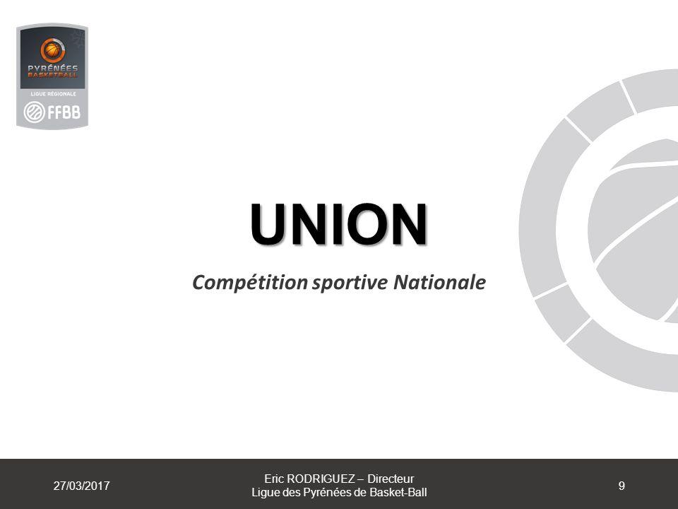 UNION Compétition sportive Nationale 27/03/2017 Eric RODRIGUEZ – Directeur Ligue des Pyrénées de Basket-Ball 9