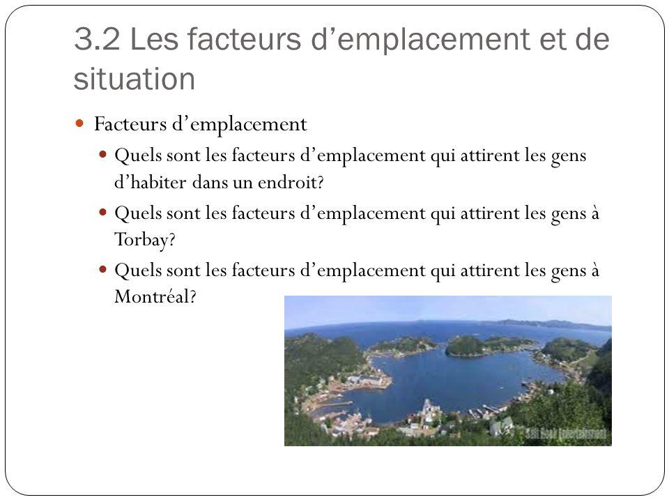 3.2 Les facteurs demplacement et de situation Facteurs demplacement Quels sont les facteurs demplacement qui attirent les gens dhabiter dans un endroi