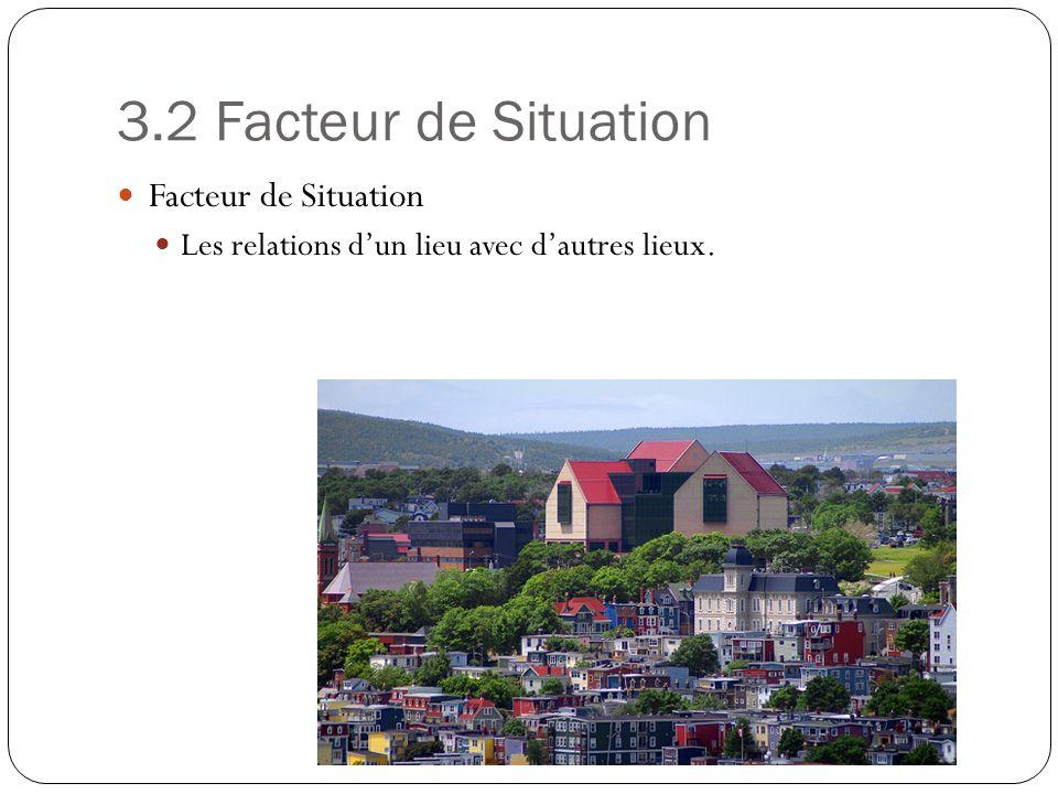 3.2 Facteur de Situation Facteur de Situation Les relations dun lieu avec dautres lieux.