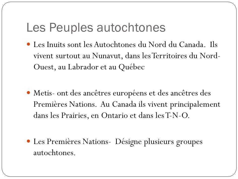 Les Peuples autochtones Les Inuits sont les Autochtones du Nord du Canada. Ils vivent surtout au Nunavut, dans les Territoires du Nord- Ouest, au Labr
