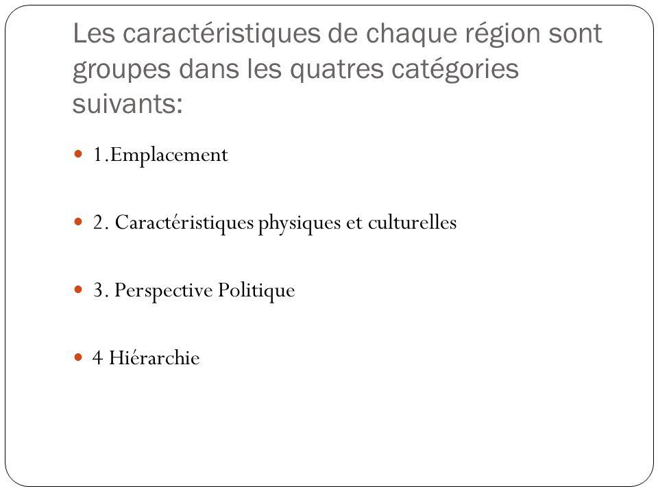 Les caractéristiques de chaque région sont groupes dans les quatres catégories suivants: 1.Emplacement 2. Caractéristiques physiques et culturelles 3.