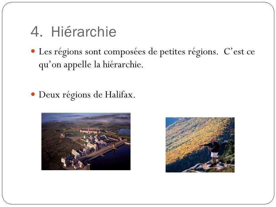 4. Hiérarchie Les régions sont composées de petites régions. Cest ce quon appelle la hiérarchie. Deux régions de Halifax.